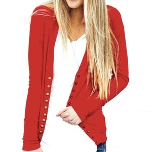 Color Story Red Snap Cardigan Medium